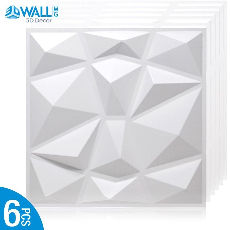 6 Piece 30x30cm 3D tile panel mold plaster wall 3D wall stickers living room wallpaper mural Waterproof sticker Bathroom Kitchen