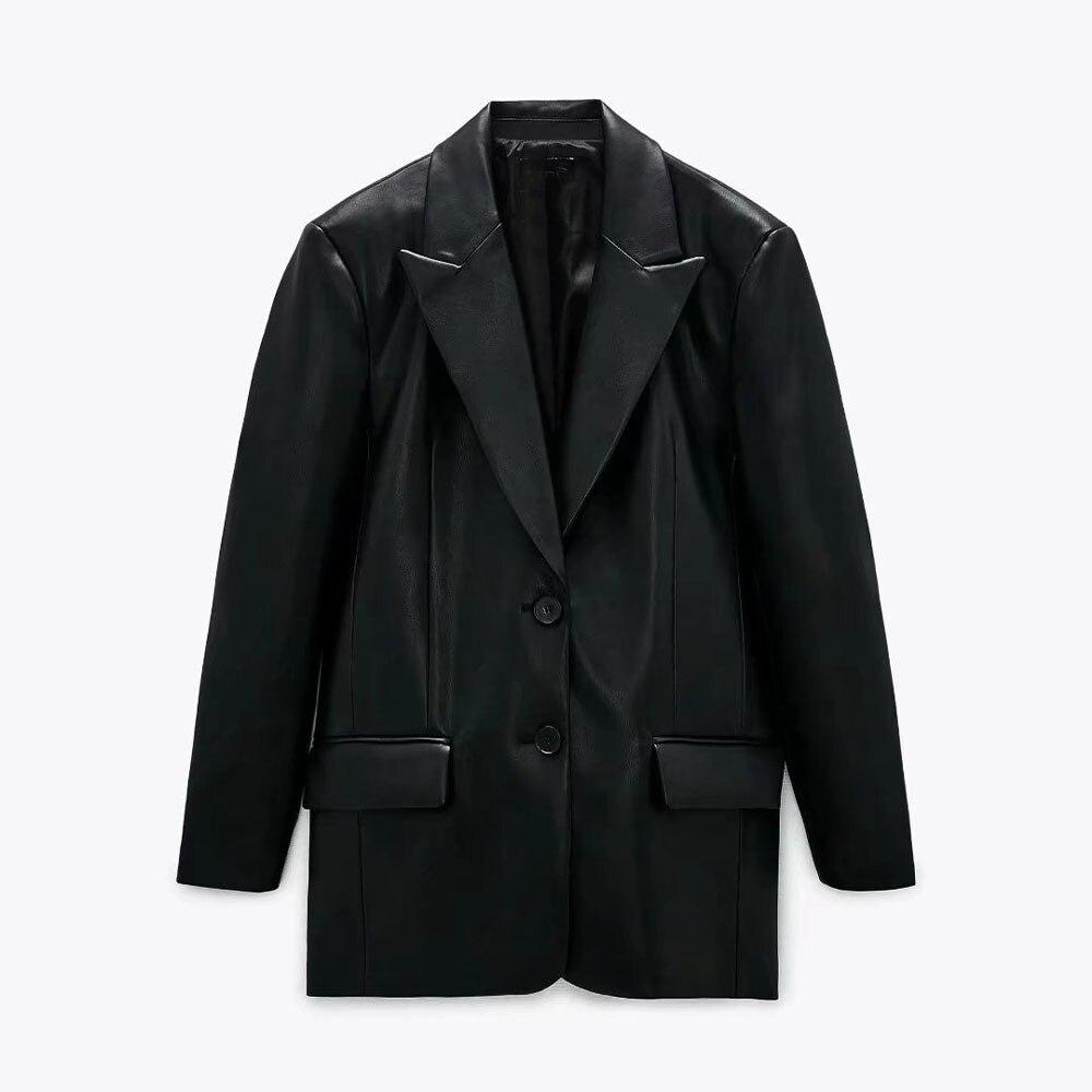 موضة خريف 2021 Za سترة نسائية فضفاضة جلد موضة جديدة معطف عتيق أكمام طويلة جيوب ملابس خارجية نسائية أنيقة