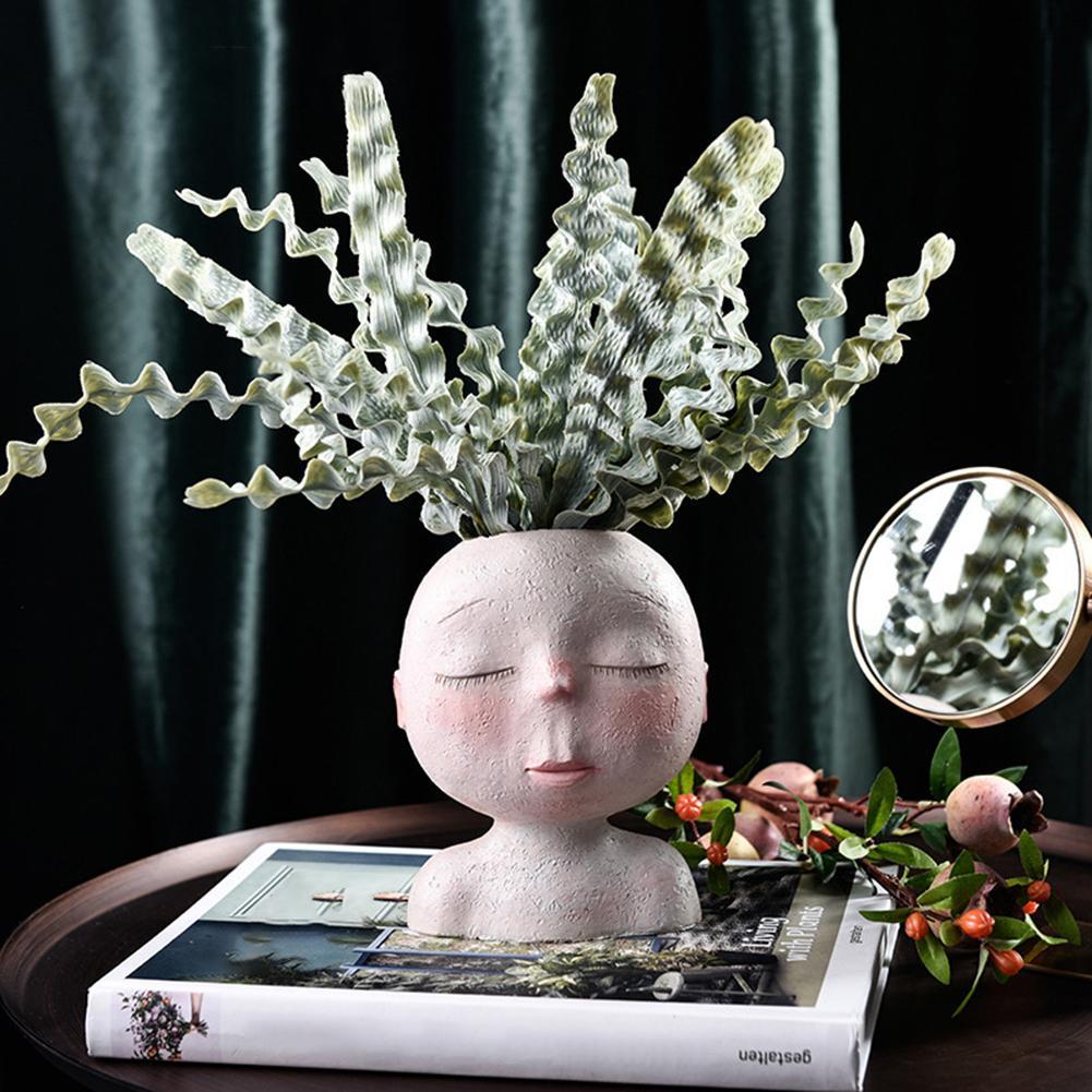 Dessin animé tête Statue Pot de fleurs Pot de fleur planteur Figurines arbre homme mignon modèle jouet stylo Pot jardin planteur Pot de fleur cadeau