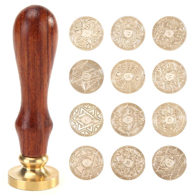 Sello de madera Retro antiguo delicado ligero conveniente Metal sellado cera sellos madera manija invitaciones de boda