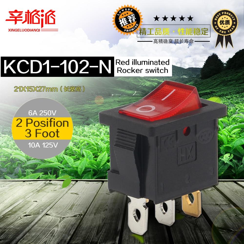 Botão vermelho iluminado mini interruptor 6a-10a 125v 250v 2pin snap-in ligar/desligar interruptor de balancim 21*15mm KCD1-102-N