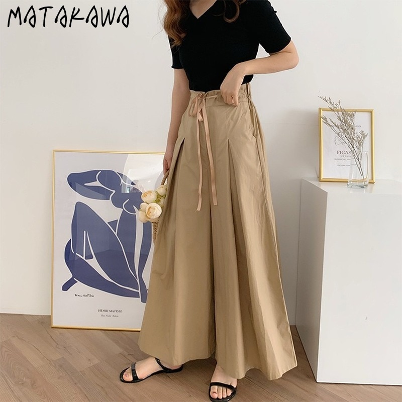 MATAKAWA femme Culottes cordon taille élastique en vrac coréen plissé Hakama femmes pantalon 2020 été large jambe pantalon