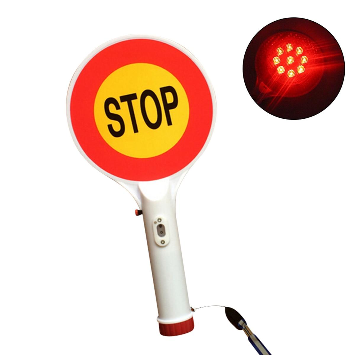 Señal de tráfico LED de mano Luz de parada señal de advertencia para coche recargable con linterna para control de tráfico construcción de carreteras bloqueadas