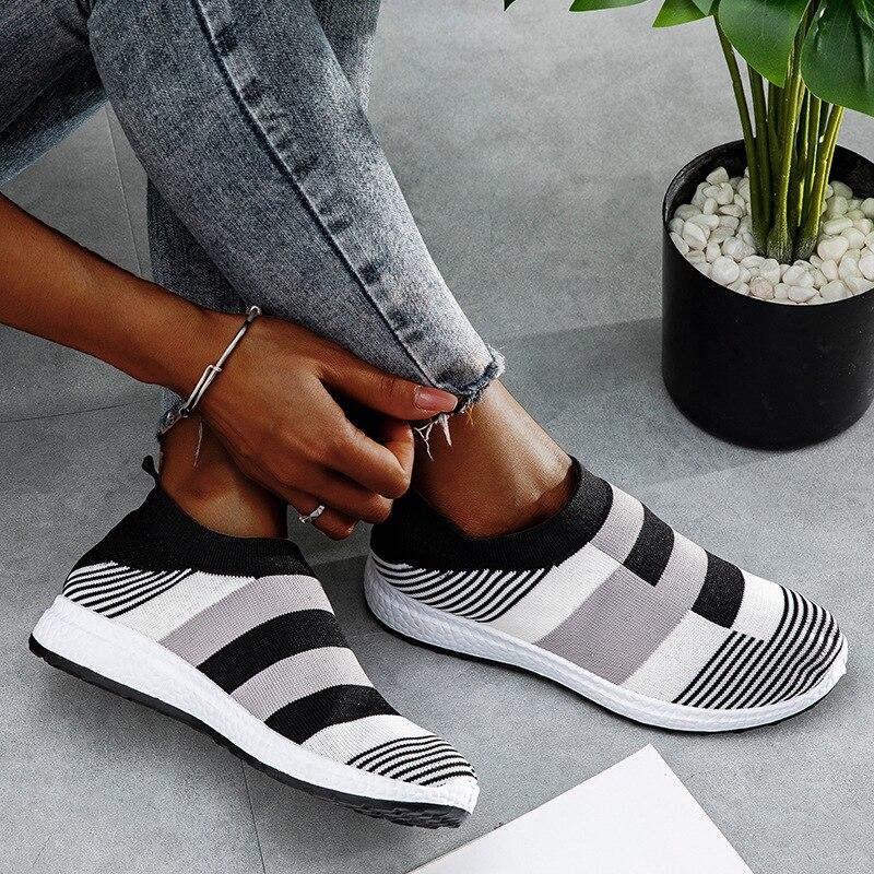 أنيقة الراحة أحذية رياضية محبوك تنفس أحذية للنساء الشقق كبيرة حجم كبير 26 26.5 سنتيمتر التنس الفتيات حذاء رياضة