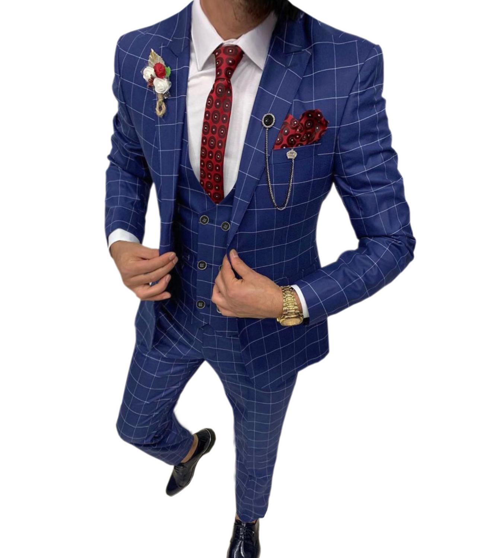 Костюм мужской из 3 предметов, королевский костюм в клетку, приталенный Свадебный костюм для жениха, твидовый шерстяной смокинг для свадьбы ...