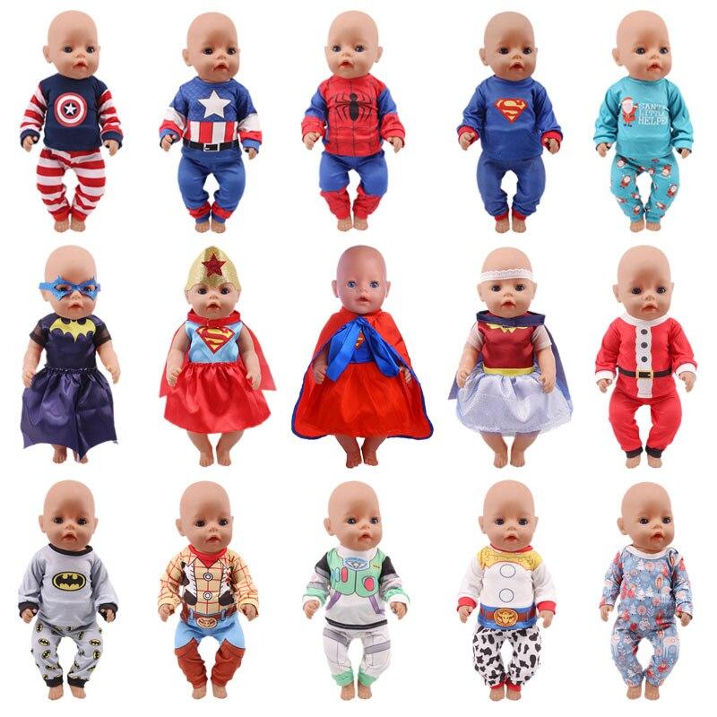 Poupée vêtements ensemble pyjamas Super héros Spider-man imprimer 18 pouces américain garçon poupée vêtements 43cm bébé nouveau-né garçon poupée vêtements