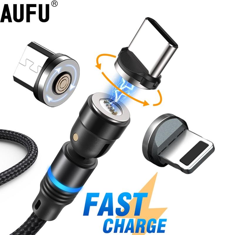 AUFU-Cable magnético de carga rápida USB tipo C, Cable de datos Micro...