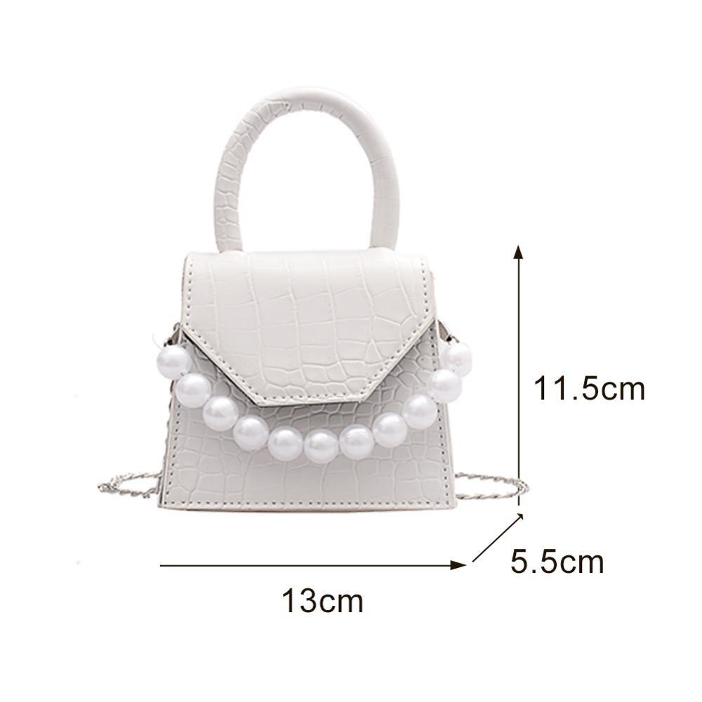 Oeak Pearl Handle Super mini Design PU Leather Shoulder Bags For Women 2020 Stone Pattern Crossbody Bag Female Travel Handbags
