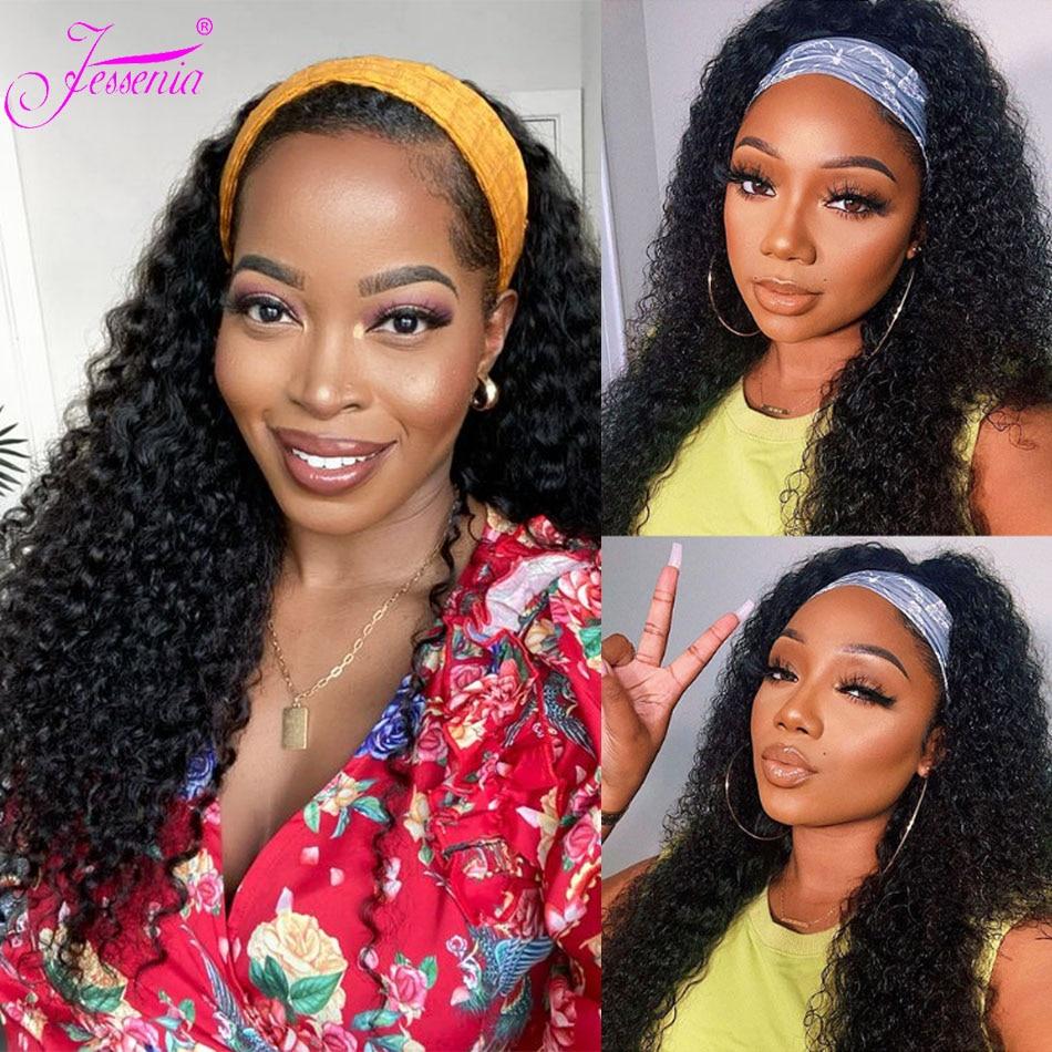 Kinky Curly Headband Wig Cheap Human Hair Easy Perfect fit Half Wig Brazilian Virgin Human Hair Wigs With Scarf Natural Looking