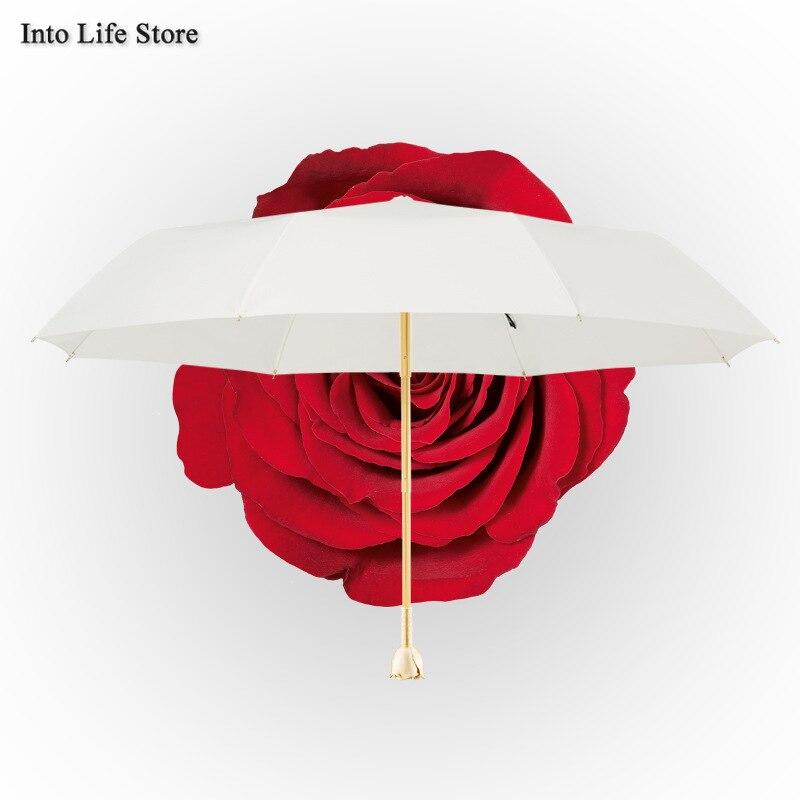 Sun Umbrella UV Beach Parasols Folding Umbrella Rain Women Luxury Designer Gold Rose Ladies Umbrellas White Gift Ideas UPF50+ enlarge