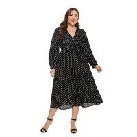 plus size dresses polka dot lantern sleeve large size black dresses dresses for women oversize dress summer xl 2xl 3xl 4xl 5xl