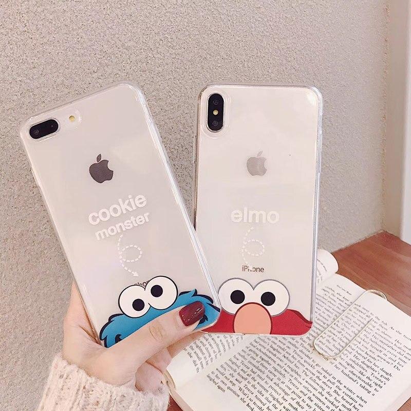 Galleta para Iphone 11 Pro Max caso Elmo contraportada transparente Coque 11 Pro Matte funda