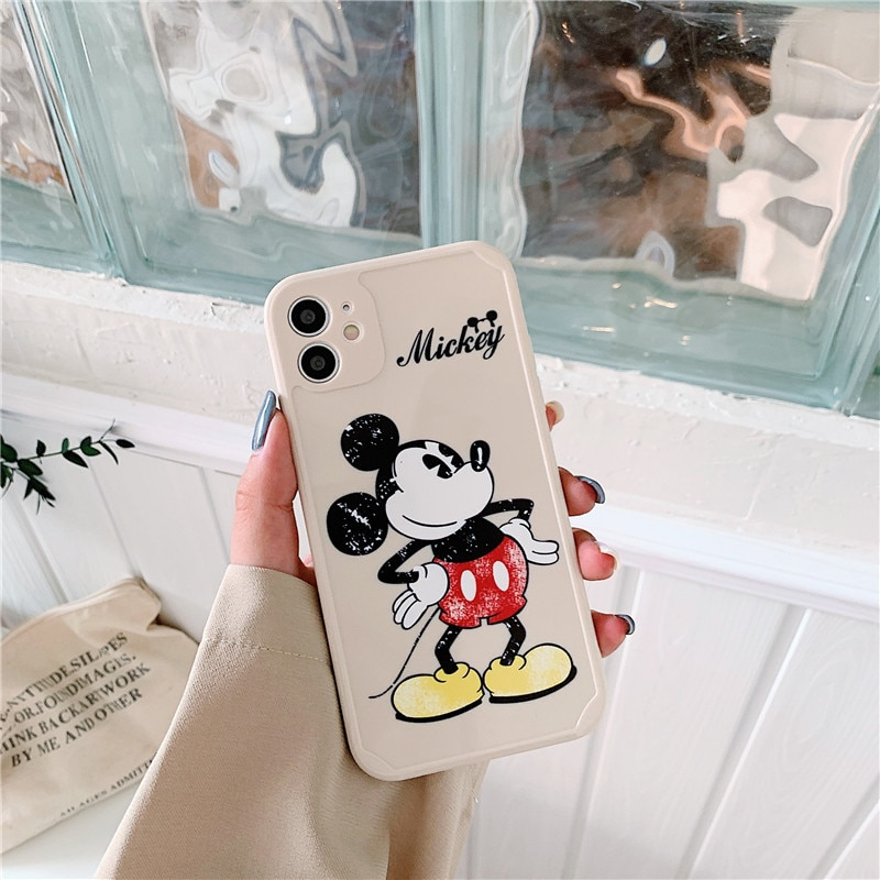 Disney certified phone case for iphone 6S/7/8P/X/XR/XS/XSMAX/11 Mickey couple phone cover  - buy with discount