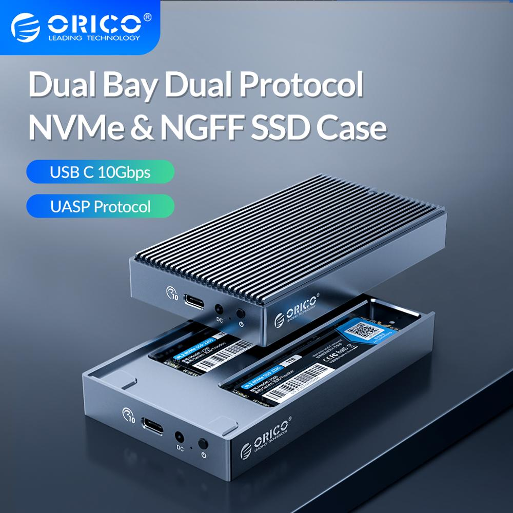 ORICO LSDT Dual Bay Dual Protocol M2 SSD Case Support M.2 NVME NGFF SATA SSD Disk For M Key & B+M Key SSD W/ 5V4A Power Adapter