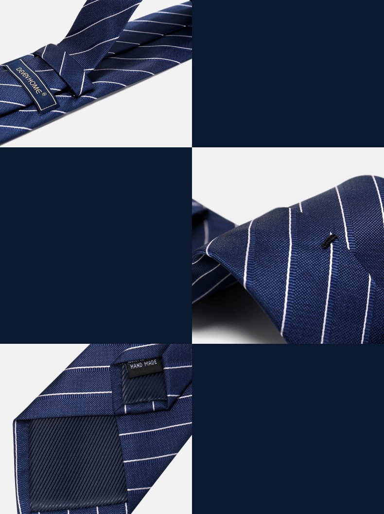 High Quality 2020 Designer New Fashion Navy Blue Classic Stripe 8cm Ties for Men Necktie Work Business Formal Suit with Gift Box