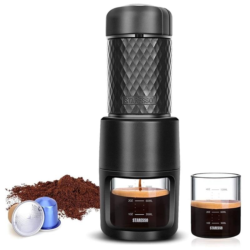 آلة محمولة صغيرة باستخدام القرون القهوة الأرض مفيد ماكينة الاسبريسو للاستخدام المنزلي مكتب التخييم
