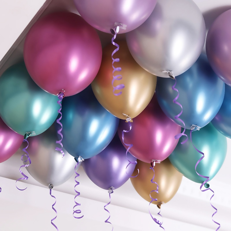New Glossy Metal Pearl Latex Balloons 12 Thick Chrome Metallic Colors Inflatable Air Globos Metalicos Party Decoration