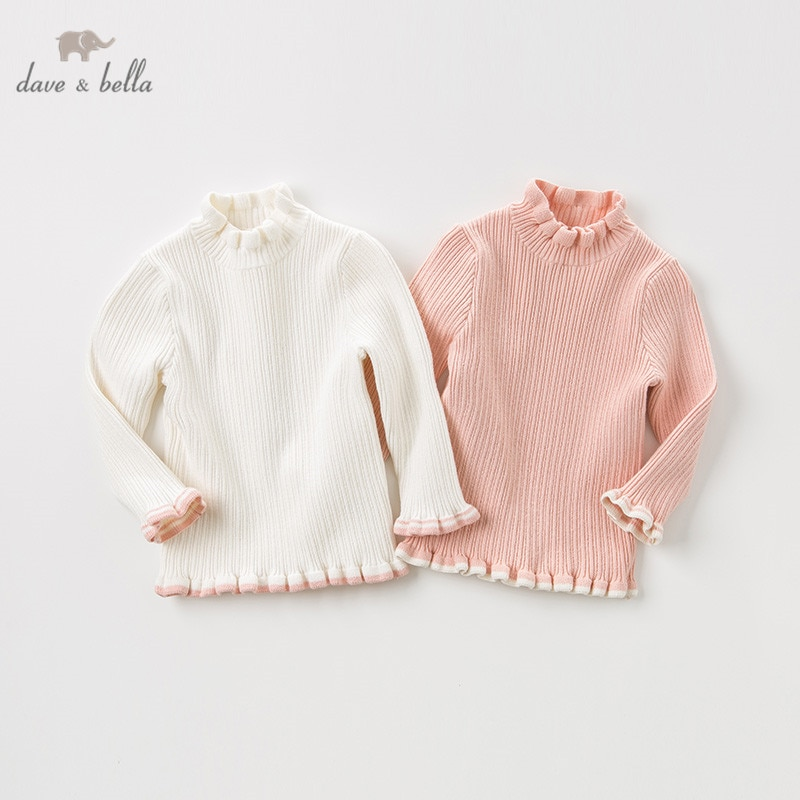 DBM11399 dave bella осенний милый однотонный вязаный свитер с рюшами для маленьких девочек, детский Модный пуловер, изысканные топы для малышей|Свитера| | АлиЭкспресс