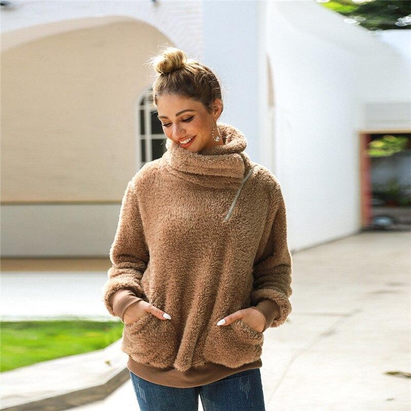 Ymwmhu Fashion Brand Women Sweatshirt Loose Warn Winter Clothes Fleece Casual Thick Turtleneck Hoodies Solid Euro Size S-XL