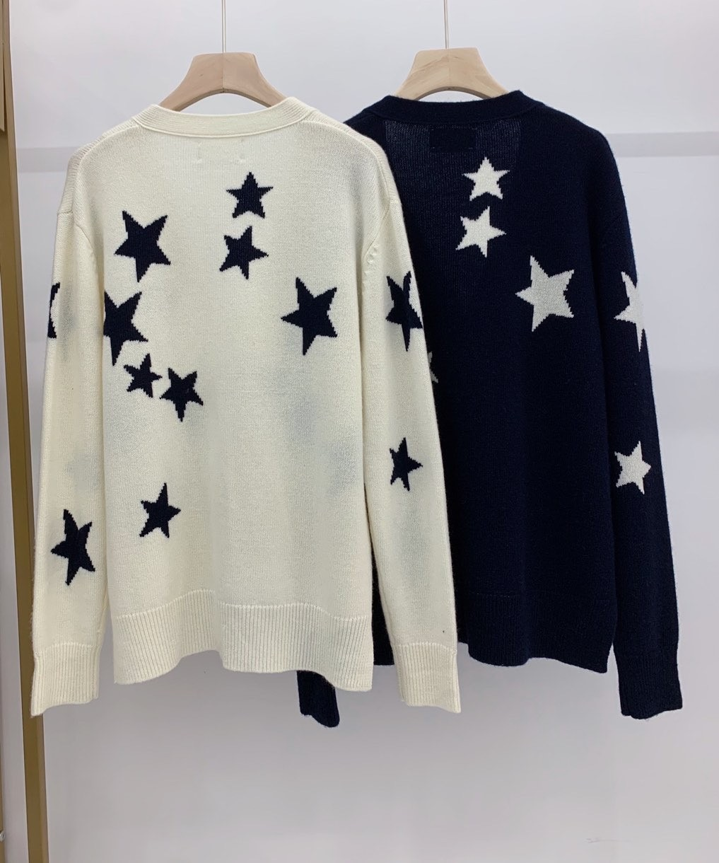 2021 autumn and winter new V-collar with short front and long stars hanging hair loose outline cashmere sweater top girl enlarge