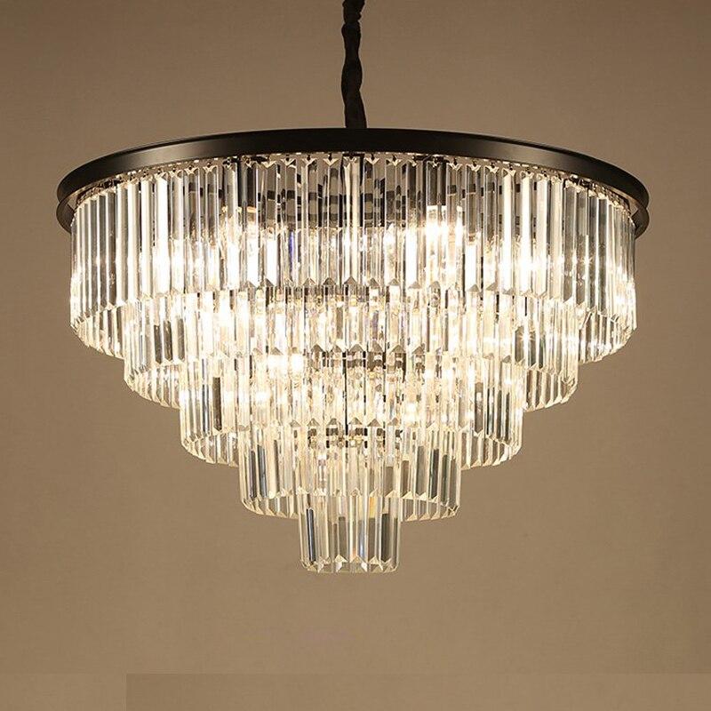 LED الحديثة مستديرة الكريستال الذهب ثريا سوداء الإضاءة بريق معلقة مصابيح تعليق الإنارة Lampen للبهو
