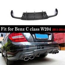 W204 C63 diffuseur de lèvres pare-choc arrière   En Fiber de carbone, becquet pour Benz W204 C180 C200 C300 Sport, pare-choc et C63 2011 - 2014