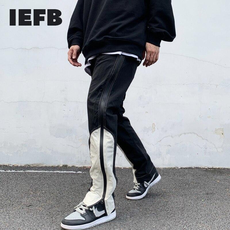 بنطلون رياضي رجالي غير رسمي من IEFB ملابس الشارع الشهير الهيب هوب بسحاب جانبي وظيفي بنطلون رياضي رجالي بألوان متباينة 9Y6336