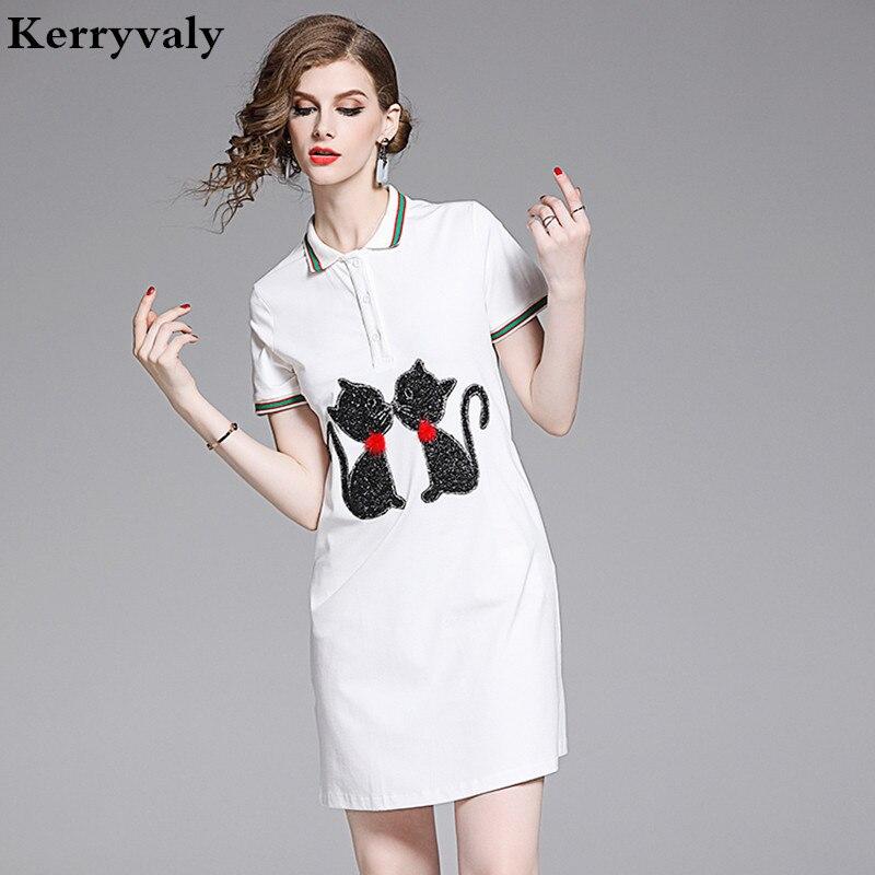 Summer Casual Cat Pattern White T-shirt Dress Vestidos Mujer Verano 2020 Cute Dress Robe Moulante Femme Damen Kleider K6484