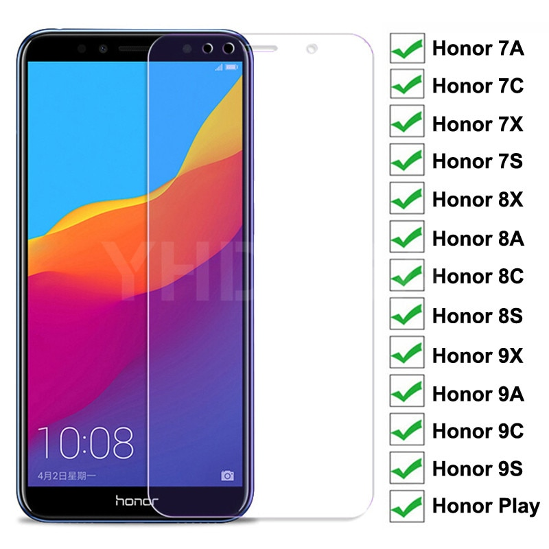 9H Full Cover Protective Glass For Huawei Honor 8X 8A 8C 8S Tempered Glass Honor 7A 7C 7X 7S 9X 9A 9