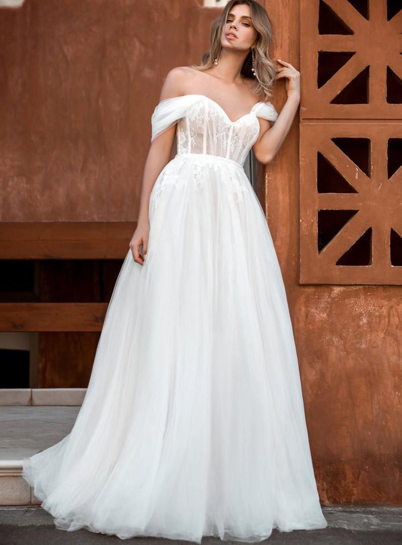 Vestido de Noiva A Line Fairy Sweetheart Boho Wedding Dress Off The Shoulder Boho Top Lace Bride Dresses 2020 Robe De Mariee