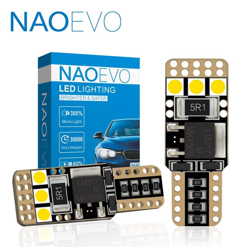 Luz LED para coche NAOEVO T10 CANBUS W5W 3,9 W superbrillante 6 SMD 3030 194 para luz lateral de coche passat b6, Blub blanco para puerta Interior de 12V
