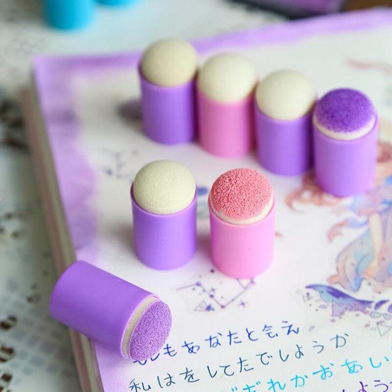 Set de 10 unidades de útiles creativos y coloridos para maquillaje, esponja para dedos, almohadilla de tinta para pintar, almohadilla de tinta para estampado, álbum diario, útiles de papelería artística