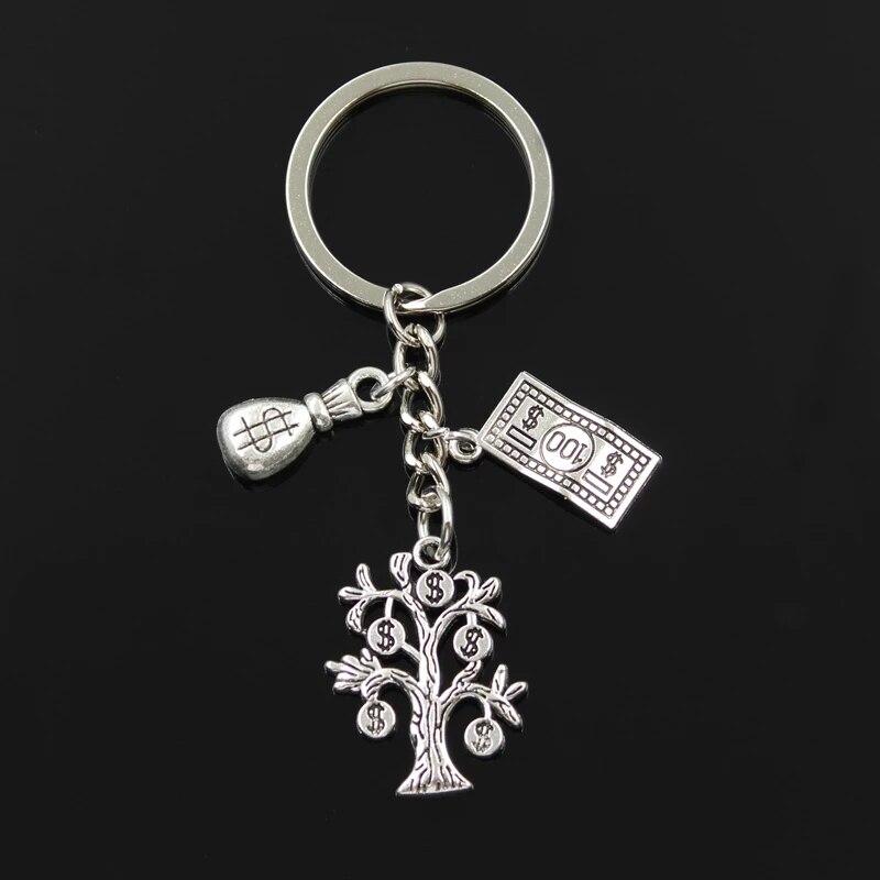 Fashion 30mm Keychain Jewelry Silver Money Tree Wallet Dollar Pendant