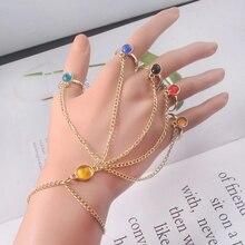 Infinite Power Glove Gauntlet Bracelets Bangles Gem Stone Pulsera for Women Girls Jewelry Gift Finge