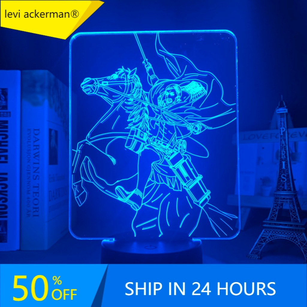 Anime Attack on Titan 3d Lamp Erwin Smith Light for Bedroom Decoration Kids Gift Attack on Titan LED Night Light Erwin Smith недорого
