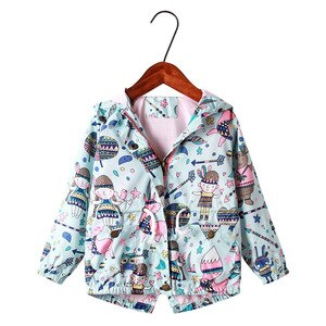 Kids Coat  Girls Coat Graffiti Trench Coat Fashion  V-Neck  Coat