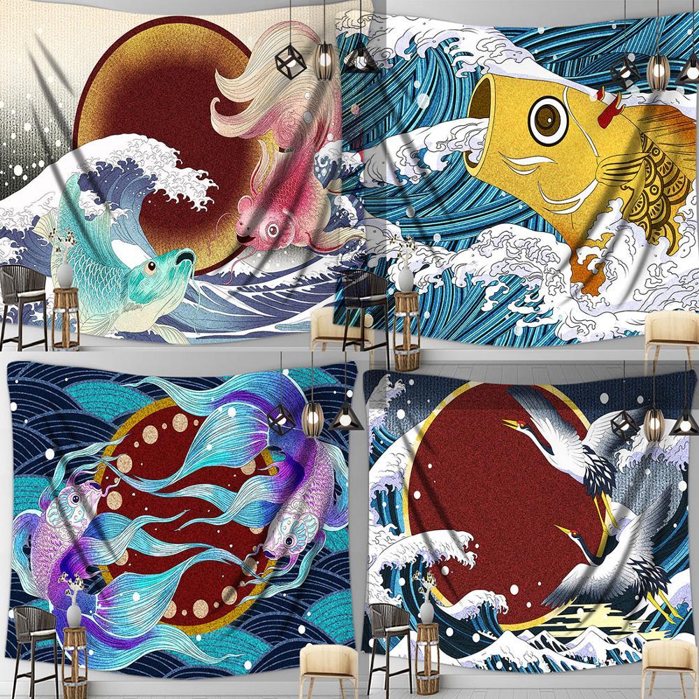 Mar japonés Wave, grúa Yamazaki Kanagawa de montaje Fuji de carpa dorada, tapiz Trippy colgante, decoración de pared, dormitorio, sala de estar