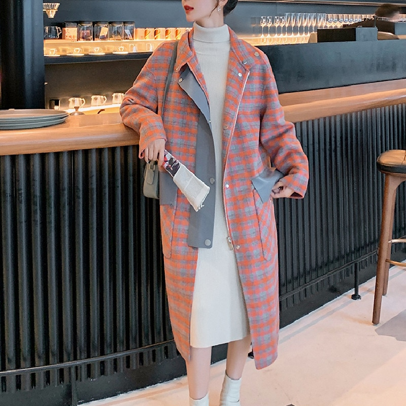 Женское шерстяное пальто в клетку, свободное шерстяное пальто средней длины в Корейском стиле, в винтажном стиле, оранжевого цвета, Осень-зи...