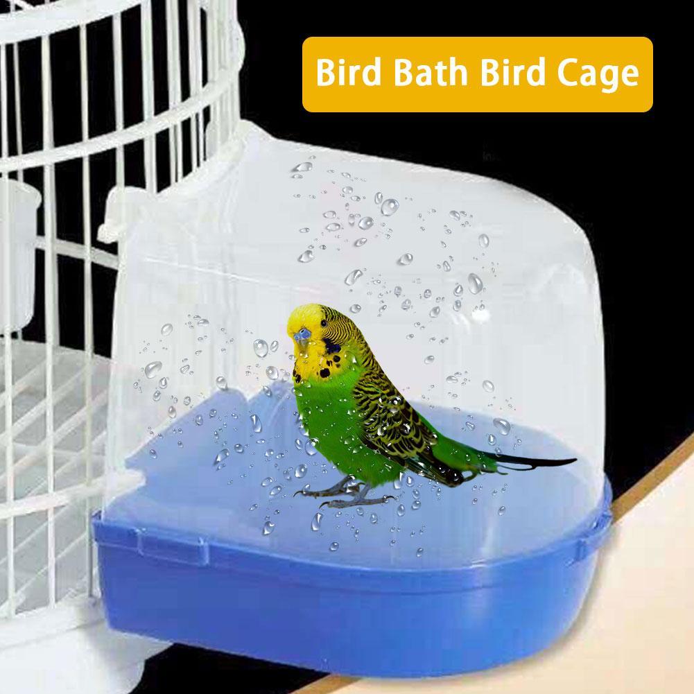 1 pieza de loro pájaro bañera de plástico pájaro caja de baño de agua mascota pájaro jaula colgante baño ducha Cubo de pie para loro Perico Lovebird