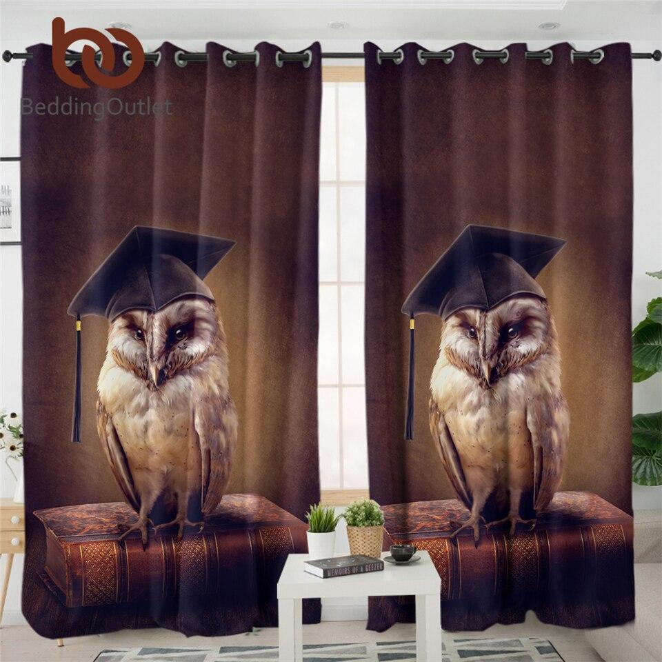 Cortina BeddingOutlet Wise Owl para sala de estar cortinas opacas estampadas 3D pájaro en el libro cortinas de ventana 1 pieza gardinen