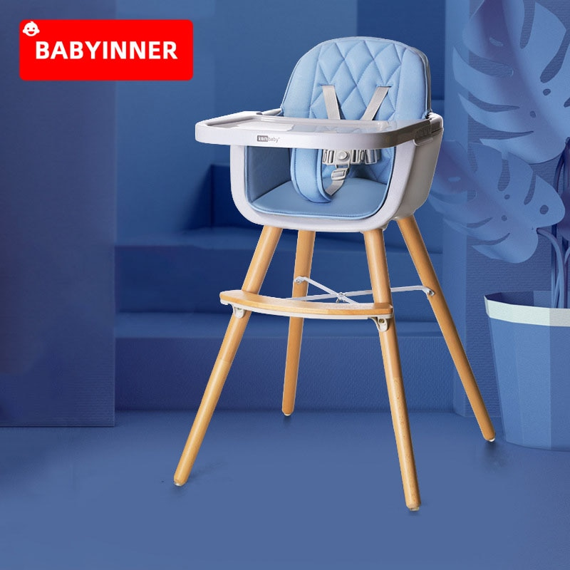 Babyinner Baby High Chair Kids Table and Chair Adjustable Height Dinner Table Multifunction Solid Wood Booster Seat