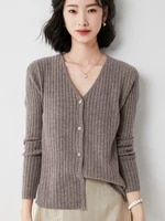 new arrival spring and summer cool wool knitted cardigan cashmere sweater v neck short loose long sleeved jacket solid color