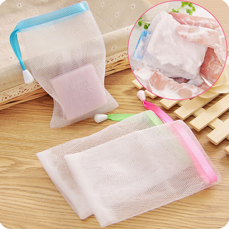 Bolsa de malla para jabón de baño de 5 uds., bolsa de espuma para limpiar, bolsas de burbujas de nailon para colgar, cepillos de baño, red de malla para suministros de baño