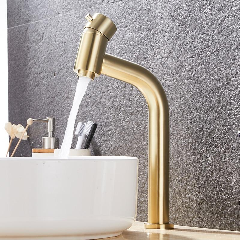 Новый смеситель для раковины BAKALA, современный латунный кран для ванной, высокий кран для раковины, Золотая щетка, Высокий кран