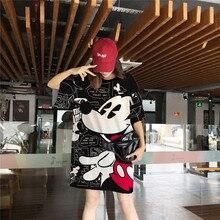 Disney Mickey Mouse femmes T-shirts évider noir hauts blancs en vrac été col rond à manches courtes T-shirts dessin animé vêtements féminins