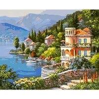 Peinture numerique par numeros  paysage darbres cotiere 40x50 50x65CM  Art mural moderne  toile  cadeau Unique  decoration de maison 40x50CM