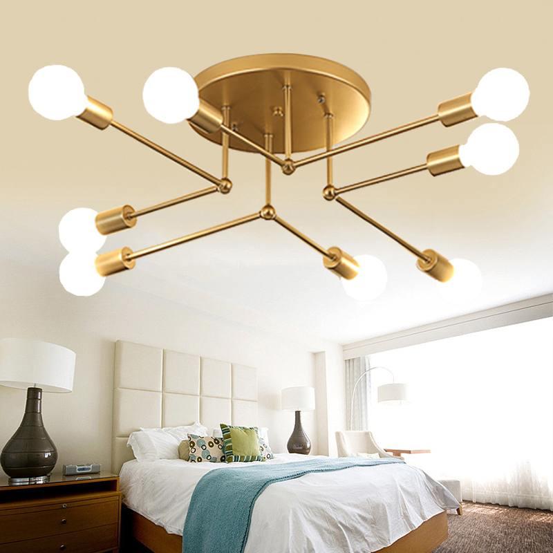 Lámpara de techo Smuxi, lámpara LED moderna para dormitorio, sala de estar, lámpara de techo de hierro forjado, lámpara colgante de 220V E27 (bombilla no incluida)