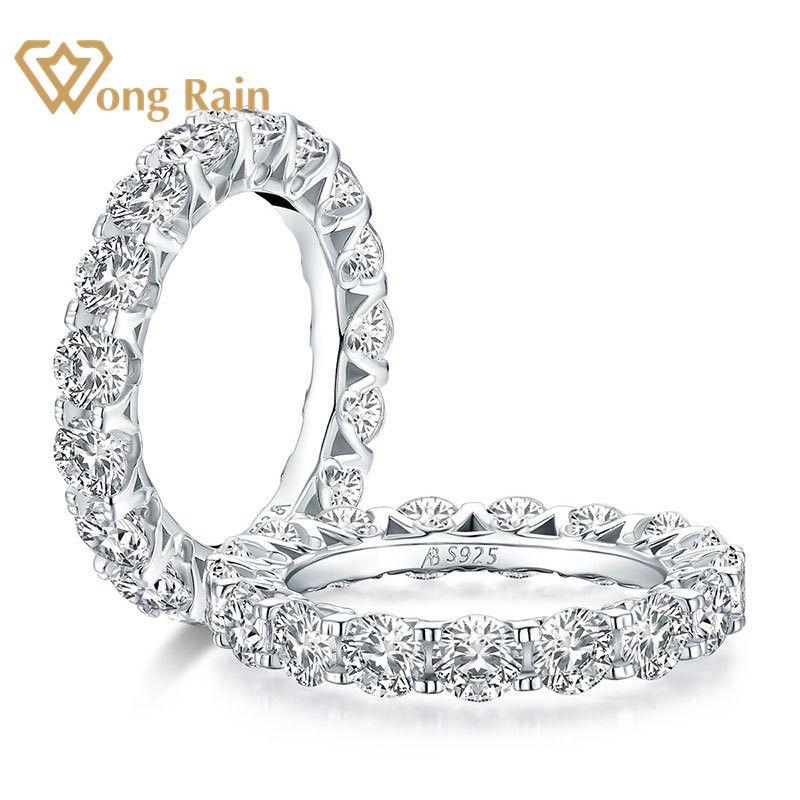 وونغ راين 100% 925 فضة استرلينية دائرية قص مكون من مويسانيتي الاحجار الكريمة خاتم الخطوبة ومجوهرات الزفاف الجميلة بالجملة