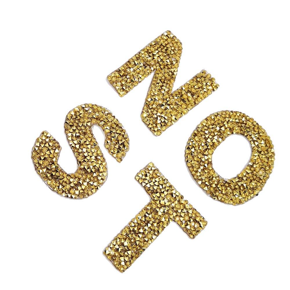 Um conjunto 26 pçs letras de ouro motivo strass quente fix strass carta ferro em apliques para roupas diy needlework nome