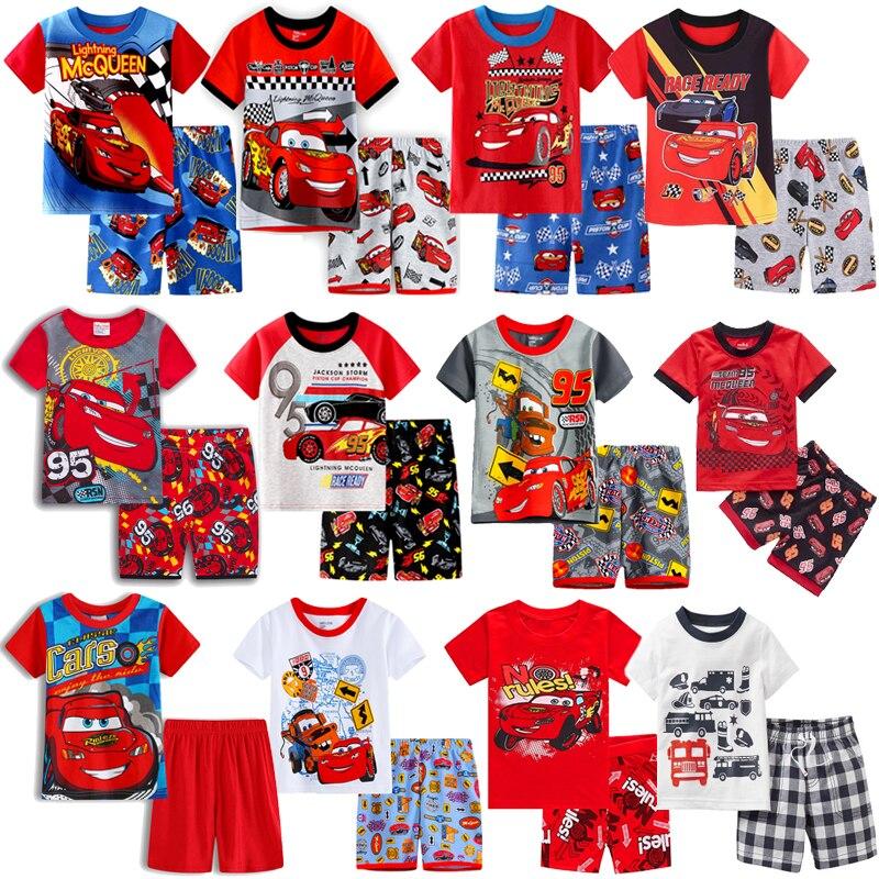 Pijama infantil de algodão anna elsa carros, roupas de dormir para garotos garotas e garotas, verão 2020